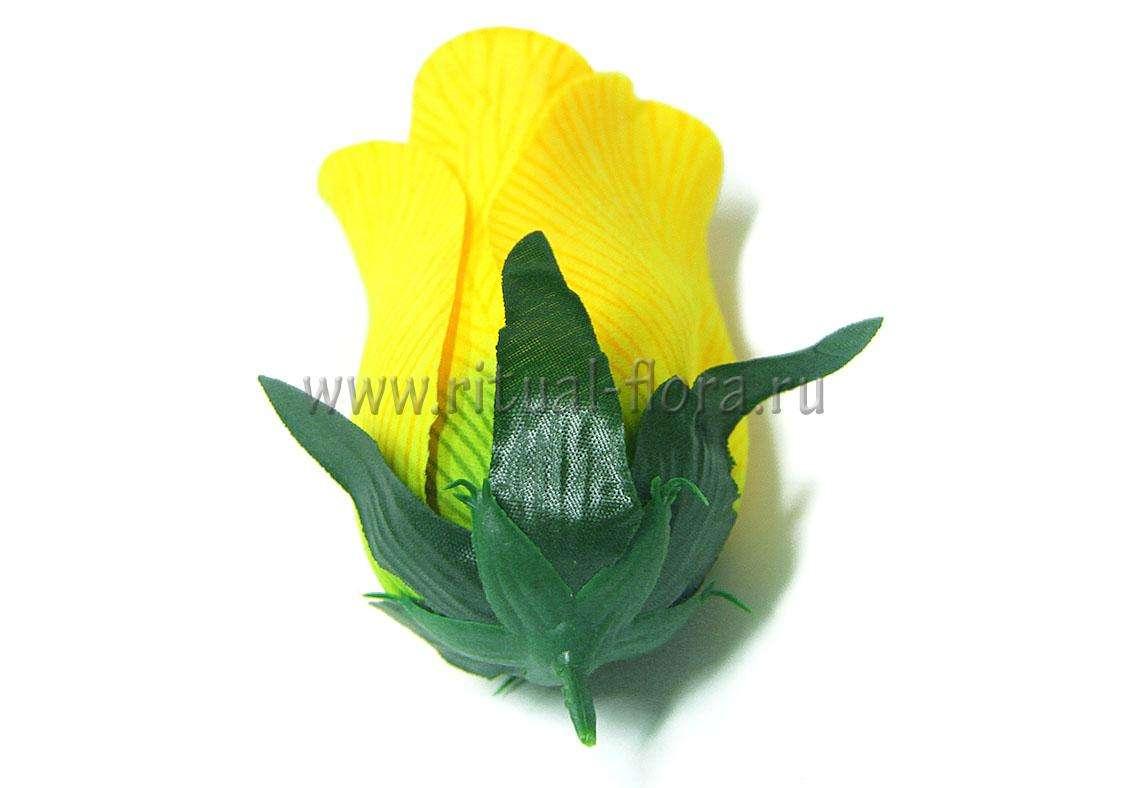 Роза бутон велюр с прожилками Г0345 желтый (20 шт)
