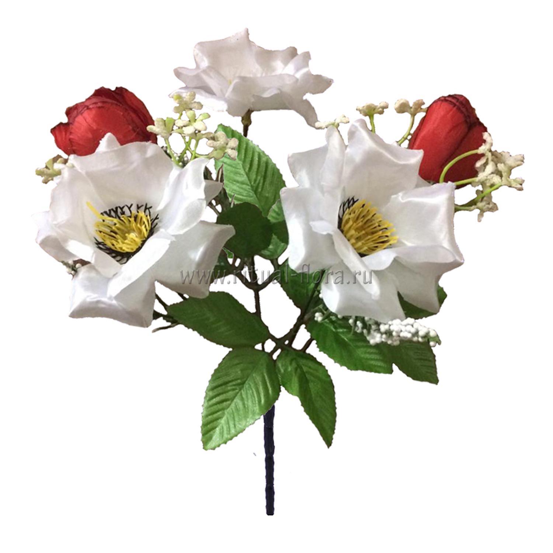 Букет Роза + камелия с розеткой обсыпной 5 г. БФ-247