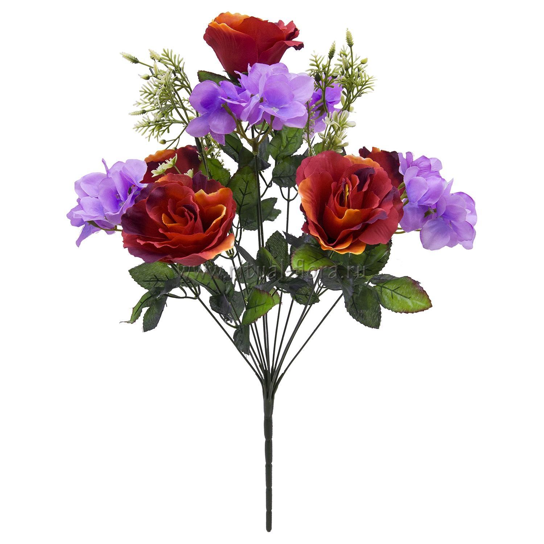 Букет роза+гортензия 12г(микс 20шт) БХН-355-12Г